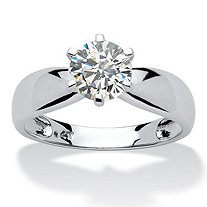 SETA JEWELRY 1.25 TCW Round Cubic Zirconia 10k White Gold Bridal Engagement Solitaire Ring