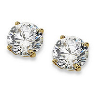 1 TCW Round Cubic Zirconia 10k Yellow Gold Stud Earrings