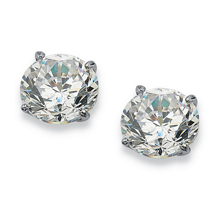 1 TCW Round Cubic Zirconia 10k White Gold Stud Earrings at PalmBeach Jewelry