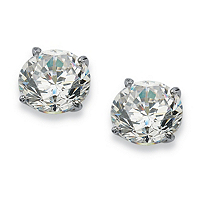 Round Cubic Zirconia 10k White Gold Stud Earrings ONLY $44.21