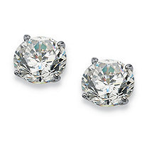 1 TCW Round Cubic Zirconia Solid 10k White Gold Stud Earrings