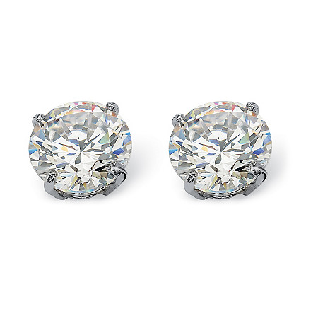 Round Cubic Zirconia Stud Earrings 1.80 TCW in 10k White Gold at PalmBeach Jewelry
