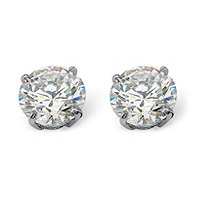 1.80 TCW Round Cubic Zirconia 10k White Gold Stud Earrings