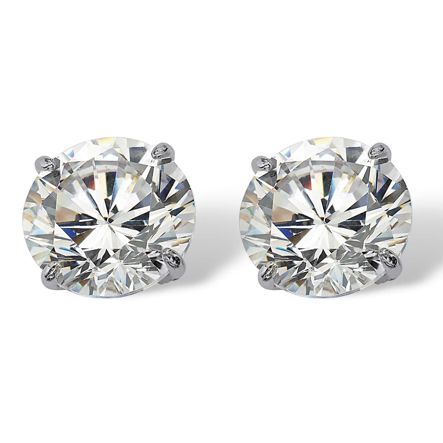 3 Tcw Round Cubic Zirconia 10k White Gold Stud Earrings At