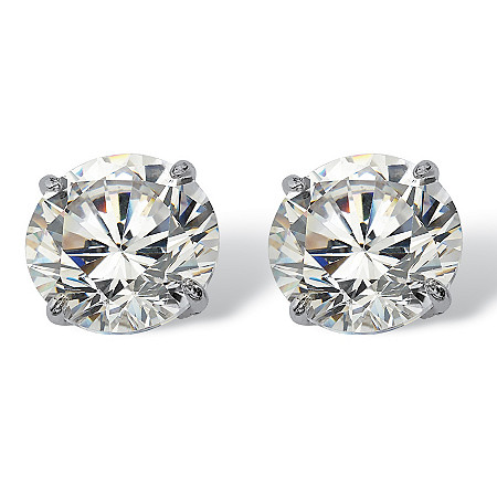 3 TCW Round Cubic Zirconia 10k White Gold Stud Earrings at PalmBeach Jewelry
