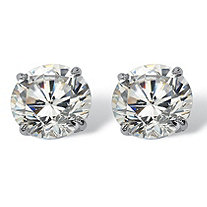 SETA JEWELRY 3 TCW Round Cubic Zirconia 10k White Gold Stud Earrings