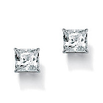 3.24 TCW Princess-Cut Cubic Zirconia 10k White Gold Stud Earrings