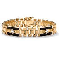 Men's 1.48 TCW Cubic Zirconia and Onyx Panther-Link Bracelet in 14k Gold-Plated