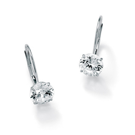 3 TCW Round Cubic Zirconia 10k White Gold Drop Earrings at PalmBeach Jewelry