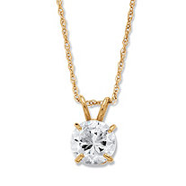 1.25 TCW Round Cubic Zirconia Solitaire Pendant Necklace in 10k Yellow Gold 18""