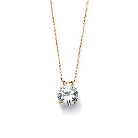 2 TCW Round Cubic Zirconia Solitaire Pendant Necklace in 10k Gold at PalmBeach Jewelry
