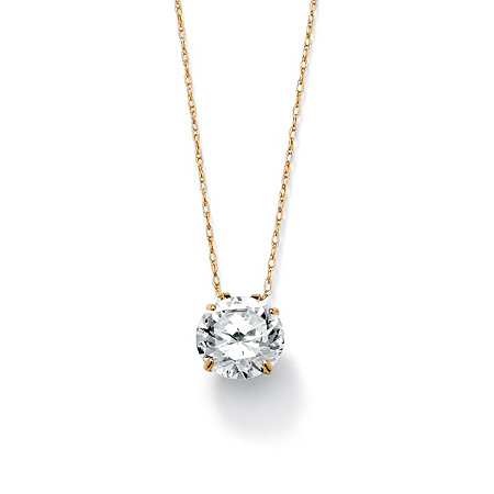 "3 TCW Round Cubic Zirconia 10k Gold Solitaire Pendant and Chain 18"" at PalmBeach Jewelry"