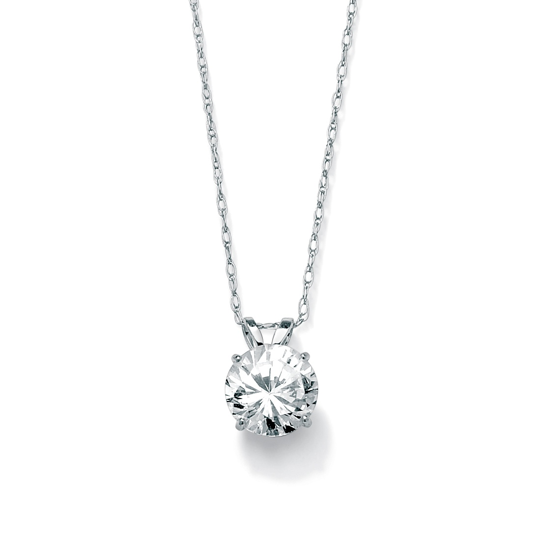 1 25 Tcw Round Cubic Zirconia Solitaire Pendant Necklace