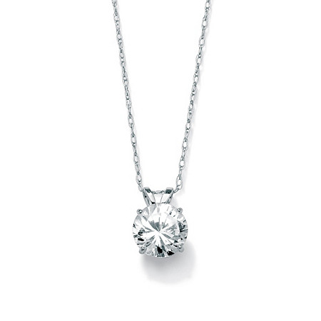 "1.25 TCW Round Cubic Zirconia Solitaire Pendant Necklace in 10k White Gold 18"" at PalmBeach Jewelry"
