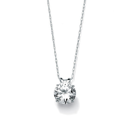 2 TCW Round Cubic Zirconia 10k White Gold Solitaire Pendant and Rope Chain 18