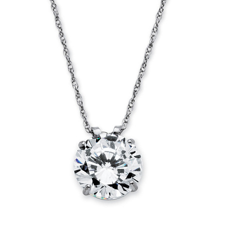 "3 TCW Round Cubic Zirconia 10k White Gold Solitaire Pendant and Rope Chain 18"" at PalmBeach Jewelry"
