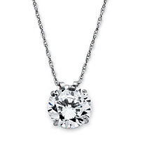 3 TCW Round Cubic Zirconia 10k White Gold Solitaire Pendant and Rope Chain 18