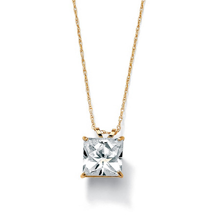 2.12 TCW Princess-Cut Cubic Zirconia Solitaire Pendant Necklace in 10k Gold at PalmBeach Jewelry