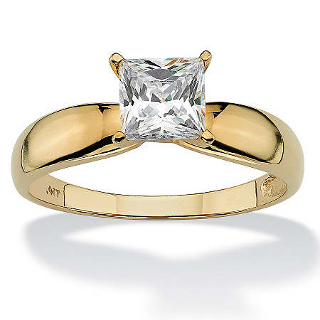 1.20 TCW Princess-Cut Cubic Zirconia 10k Yellow Gold Bridal Engagement Solitaire Ring at PalmBeach Jewelry
