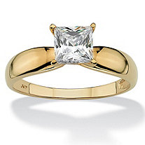 SETA JEWELRY 1.20 TCW Princess-Cut Cubic Zirconia 10k Yellow Gold Bridal Engagement Solitaire Ring