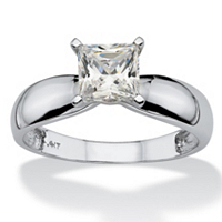 1.20 TCW Princess-Cut Cubic Zirconia Solitaire Ring In 10k White Gold ONLY $119.99