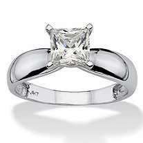 1.20 TCW Princess-Cut Cubic Zirconia Solitaire Ring in 10k White Gold