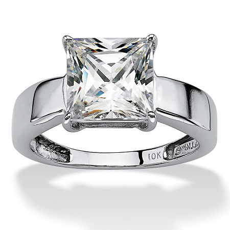 2.12 TCW Princess-Cut Cubic Zirconia 10k White Gold Solitaire Bridal Engagement Ring at PalmBeach Jewelry