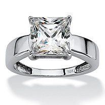SETA JEWELRY 2.12 TCW Princess-Cut Cubic Zirconia 10k White Gold Solitaire Bridal Engagement Ring