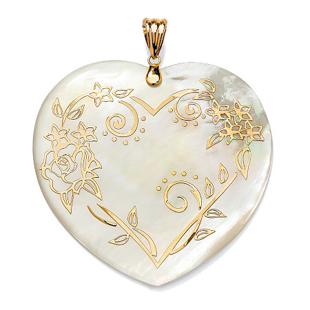 14k Gold Heart-Shaped Mother-Of-Pearl Floral Motif Pendant at PalmBeach Jewelry