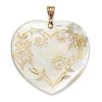 14k Gold Heart-Shaped Mother-Of-Pearl Floral Motif Pendant