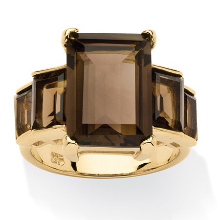 10.35 TCW Emerald-Cut Genuine Smoky Quartz 18k Gold over Sterling Silver Step Ring at PalmBeach Jewelry