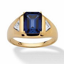 SETA JEWELRY Men's 2.75 TCW Emerald-Cut Created Sapphire Ring in 18k Gold over Sterling Silver