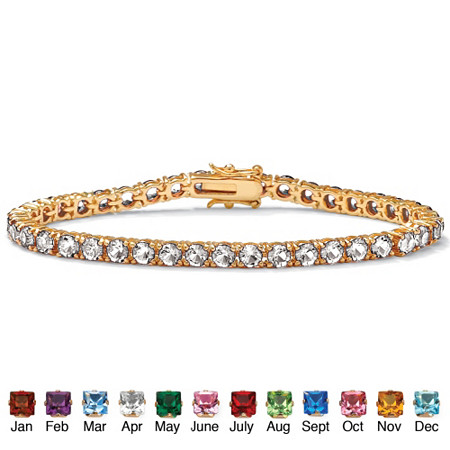 Round Birthstone Tennis Bracelet in 18k Gold-Plated at PalmBeach Jewelry
