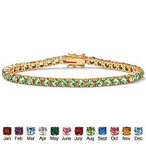 Round Birthstone Tennis Bracelet in 18k Gold-Plated