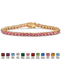 SETA JEWELRY Round Birthstone Tennis Bracelet in 18k Gold-Plated