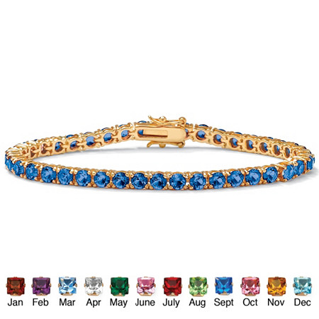Round Simulated Birthstone Tennis Bracelet in 18k Gold-Plated at PalmBeach Jewelry