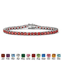 """Round Birthstone Silvertone Tennis Bracelet 7"""""""