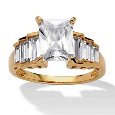 4.82 TCW Emerald-Cut Cubic Zirconia 14k Gold over Sterling Silver Engagement Ring at PalmBeach Jewelry