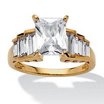 4.82 TCW Emerald-Cut Cubic Zirconia 14k Gold over Sterling Silver Engagement Ring