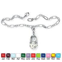 "Birthstone Silvertone Baby Shoe Charm Pendant Bracelet 7"""
