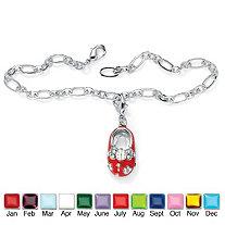 Birthstone Silvertone Baby Shoe Charm Pendant Bracelet 7