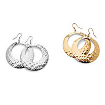 "2 Pair Hammered-Style Hoop Earrings Set in Yellow Gold Tone and Silvertone (2"")"