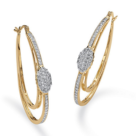 1.25 TCW Cubic Zirconia Double Oval Hoop Earrings in 14k Gold-Plated at PalmBeach Jewelry