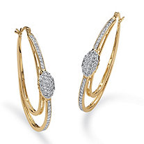 "1.25 TCW Cubic Zirconia Double Oval Hoop Earrings in 14k Gold-Plated (2"")"