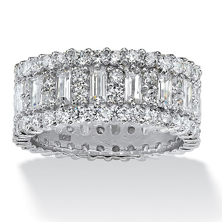 4.80 TCW Baguette Cubic Zirconia Eternity Band in Platinum Over .925 Sterling Silver at PalmBeach Jewelry
