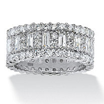 SETA JEWELRY 4.80 TCW Baguette Cubic Zirconia Eternity Band in Platinum Over .925 Sterling Silver