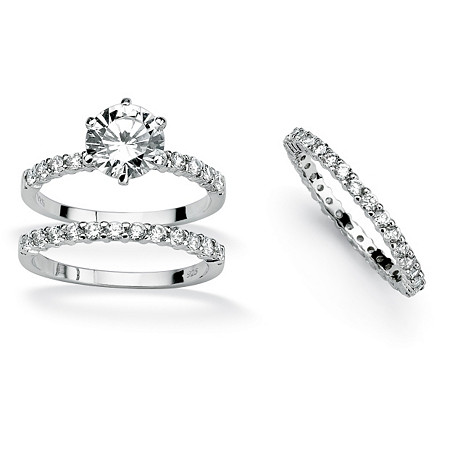 3 Piece 3.74 TCW Round Cubic Zirconia Bridal Ring Set in Platinum over Sterling Silver at Direct Charge presents PalmBeach