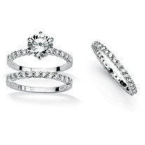 SETA JEWELRY 3 Piece 3.75 TCW Round Cubic Zirconia Bridal Ring Set in Platinum over Sterling Silver