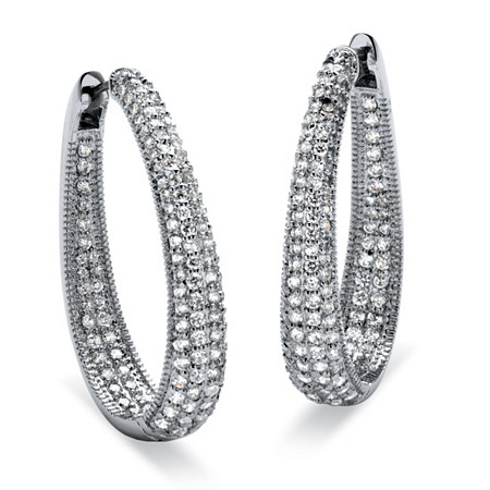 8.10 TCW Round Cubic Zirconia Silvertone Oval-Shape Inside-Out Huggie Hoop Earrings at PalmBeach Jewelry