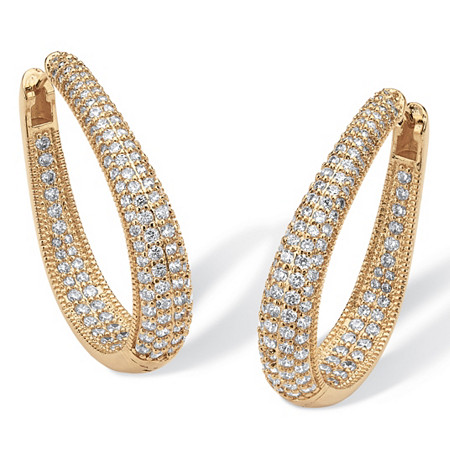 "8.10 TCW Cubic Zirconia 14k Yellow Gold-Plated Oval-Shape Inside-Out Huggie Hoop Earrings (1 1/2"") at PalmBeach Jewelry"